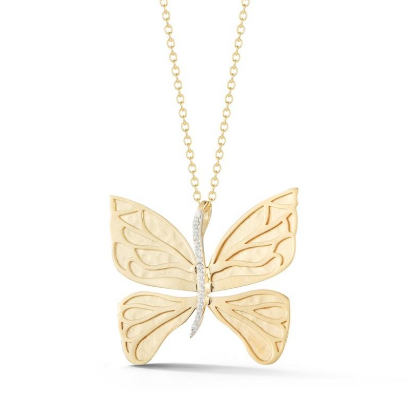 Reiss 14K Yellow Gold & Diamond Butterfly Pendant