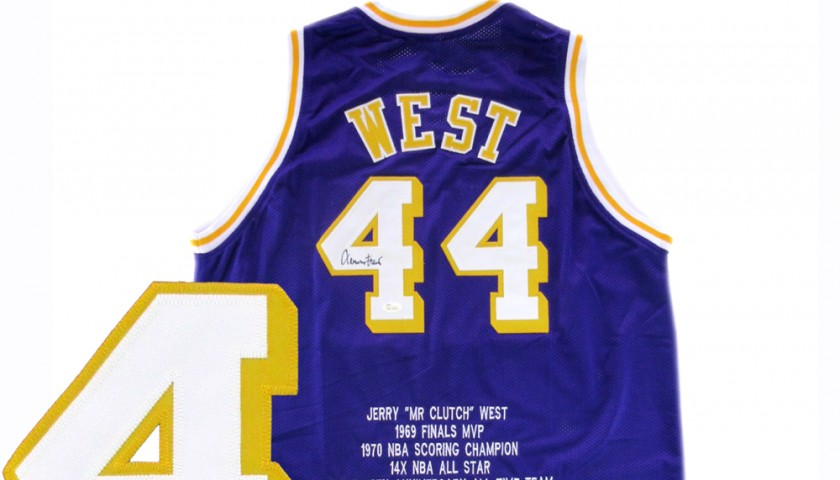new style 4f682 744b8 Official Replica LA Lakers Jersey Signed by Jerry West - CharityStars