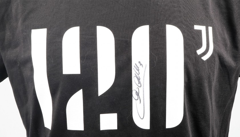 save off 0a931 93639 120th Anniversary Juventus FC T-shirt, Signed by Chiellini