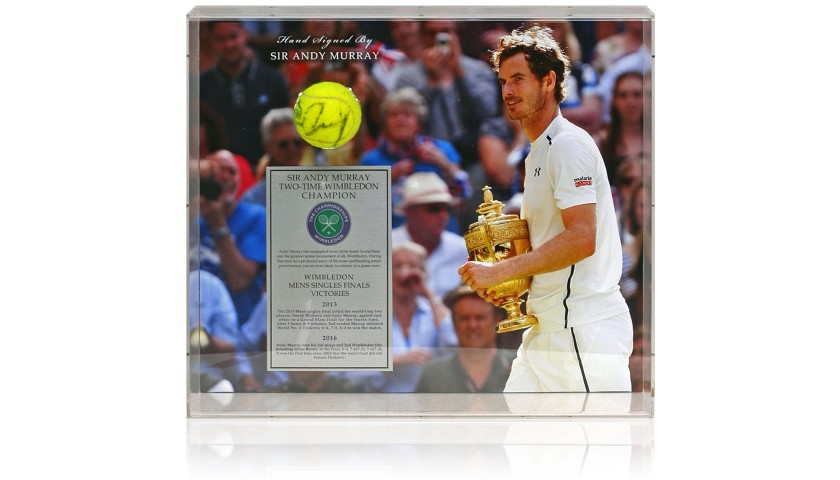 Sir Andy Murray Hand Signed Tennis Ball Wimbledon Display