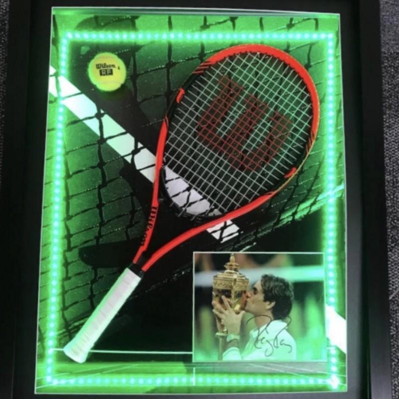 Display tennistico LED di Roger Federer con autografo e cornice