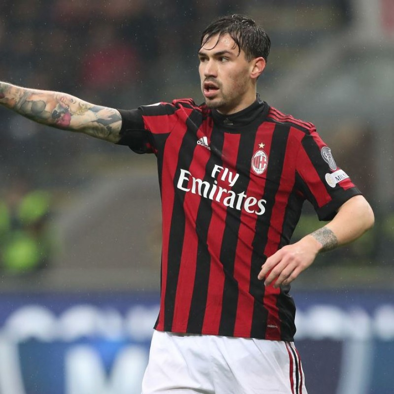 Romagnoli's Unwashed Match-Worn Milan-Inter Shirt with Special Patch