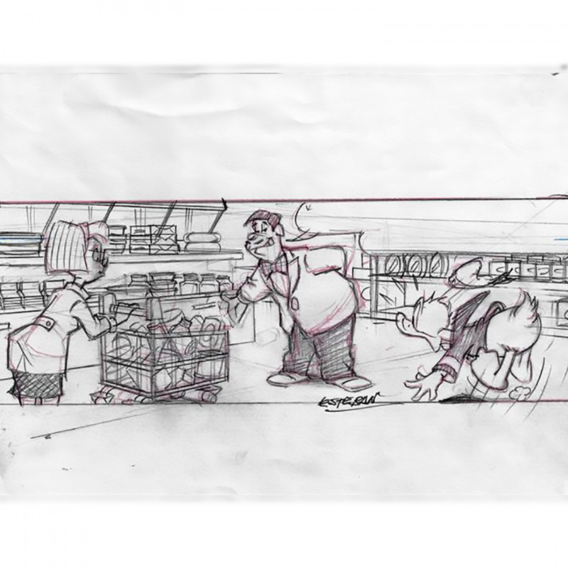 Original Donald Duck Sketchpage Board by Ignasi Calvet Esteban