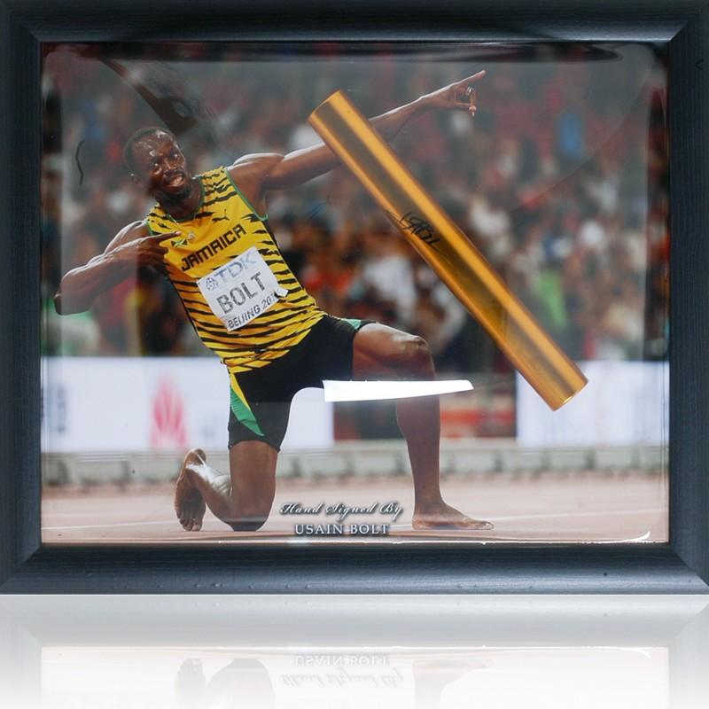 Usain Bolt Hand Signed Gold Baton