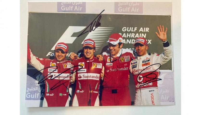 Photograph Signed by Lewis Hamilton, Fernando Alonso and Felipe Massa