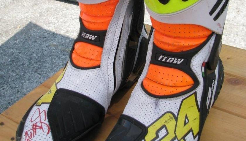 Boots worn by Moto2 pilot Simone Corsi - signed