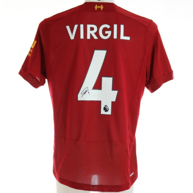Van Dijk's Official Liverpool Signed Shirt, 2019/20