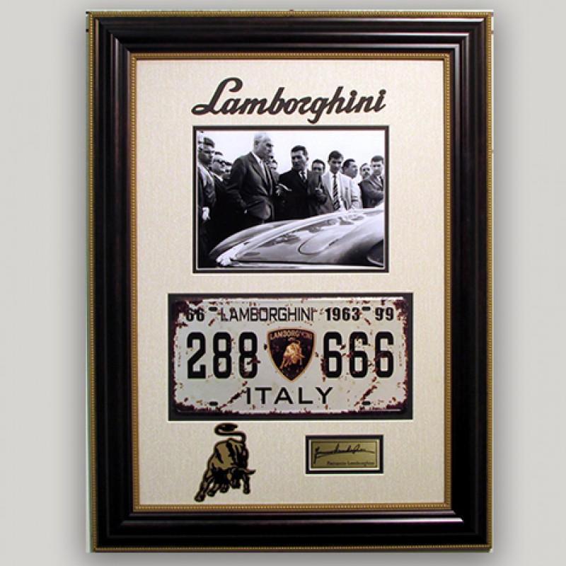 Ferruccio Lamborghini's Vintage License Plate with Photo