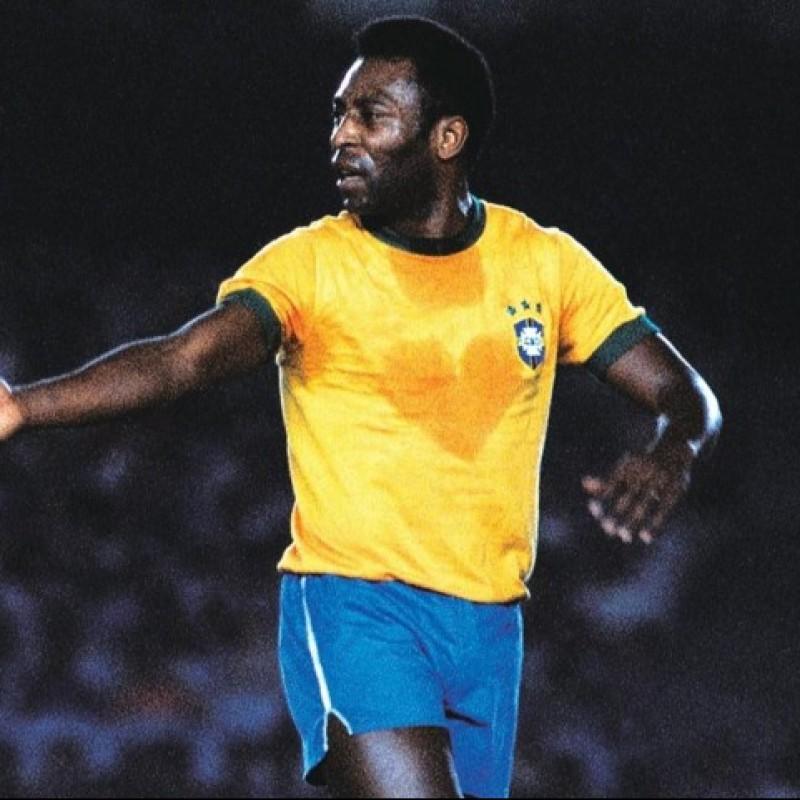 Pele's Brazil Signed Retro Shirt, 1970