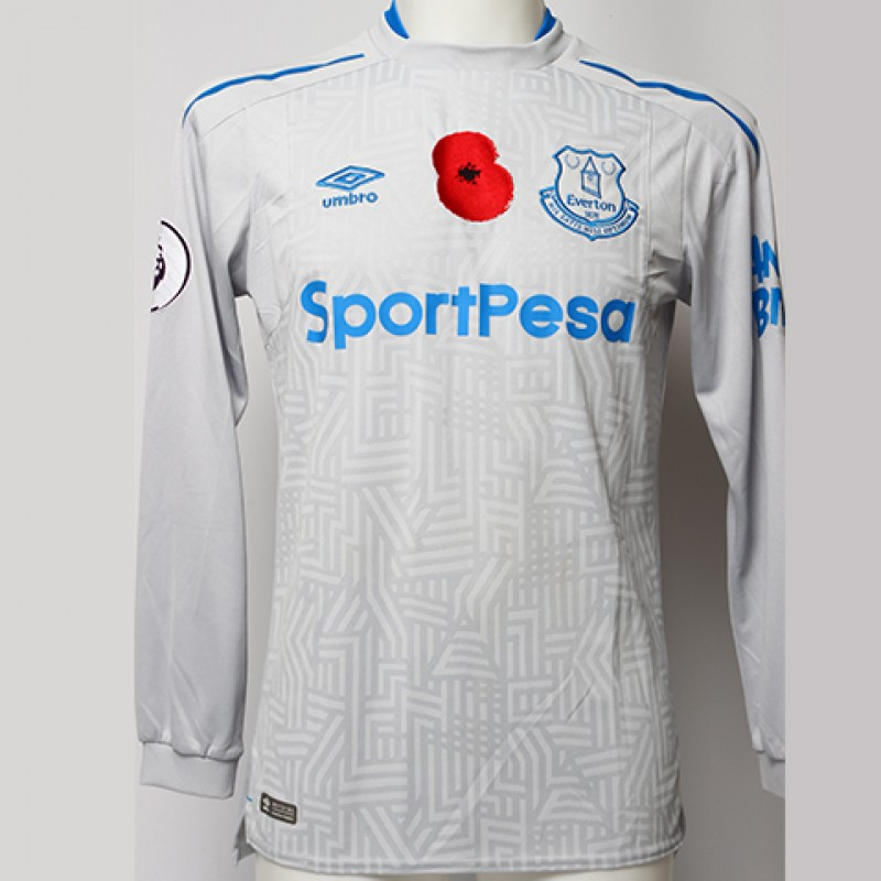 Worn Poppy Away Game Shirt Signed by Everton FC's Aaron Lennon