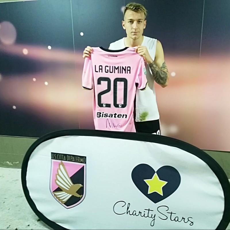 La Gumina's Match-Worn and Signed Shirt from Palermo-Ternana 2017/18