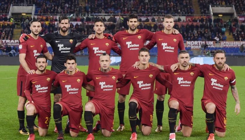 Kolarov's Match-Worn Roma-Cagliari Shirt, Special Sponsor Telethon