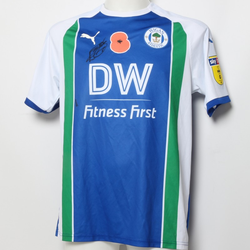 Lee Evans' Wigan Athletic Signed Poppy Home Shirt
