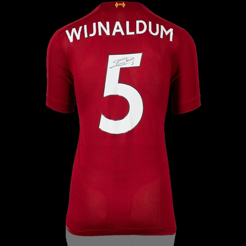 Georginio Wijnaldum Back Signed Liverpool 2019-20 Home Shirt With Fan Style Numbers