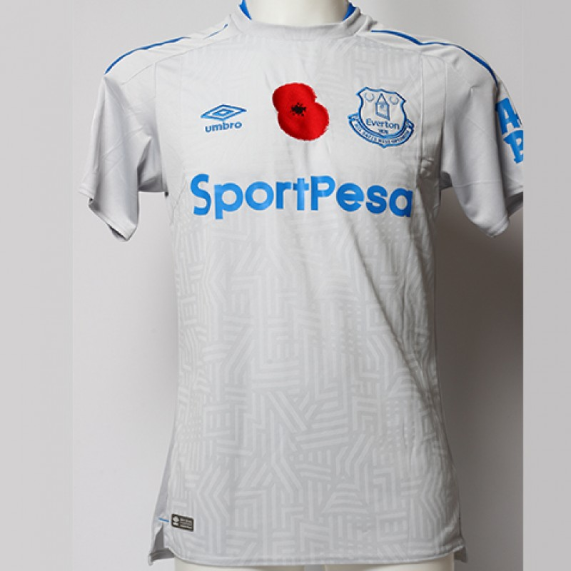 Issued Poppy Away Game Shirt Signed by Everton FC's Ademola Lookman