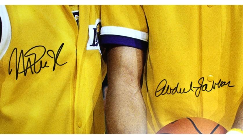Abdul-Jabbar & Magic Johnson Signed Los Angeles Lakers NBA Photo