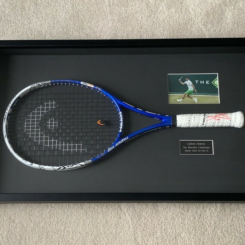 Gilles Simon Signed Tennis Racket Display
