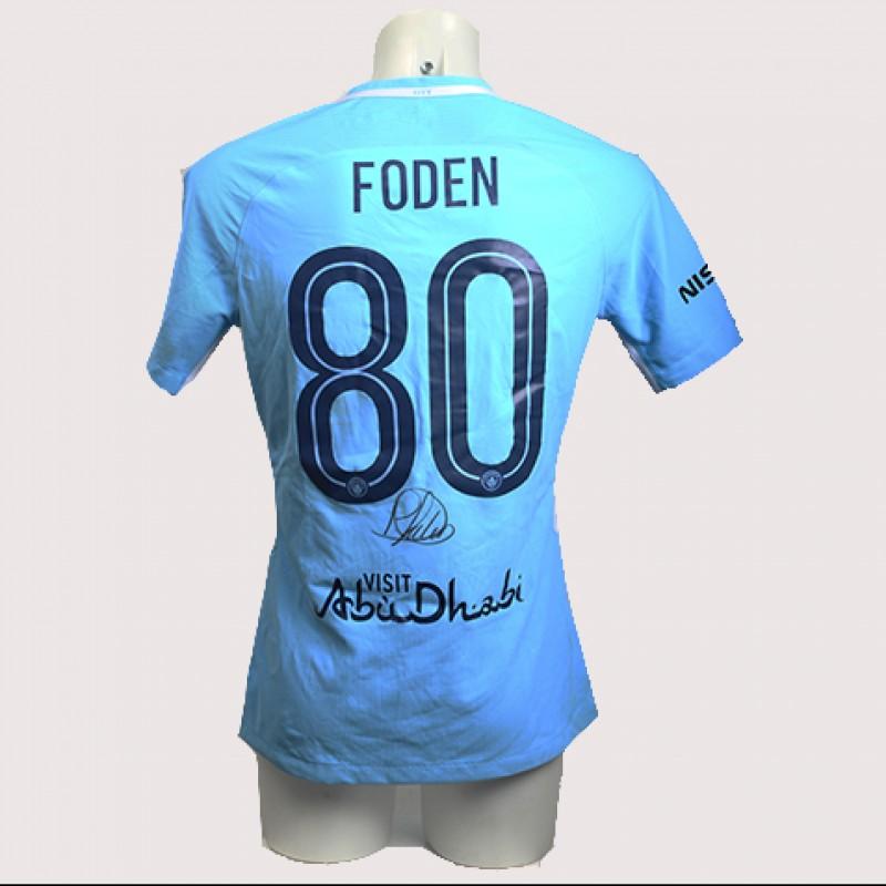 Phil Foden Match-Worn Signed Manchester Derby Shirt