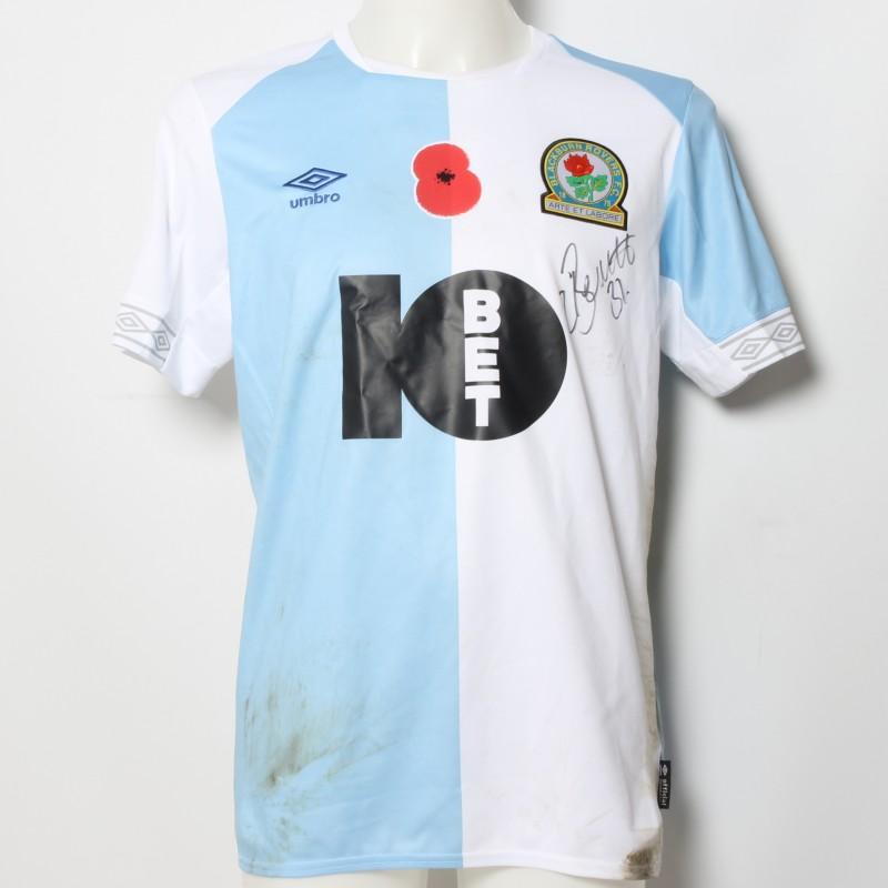 Elliott Bennett's Match-Worn Blackburn Rovers Signed Poppy Home Shirt