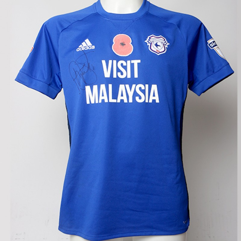 Poppy Shirt Signed by Cardiff City FC's Sol Bamba