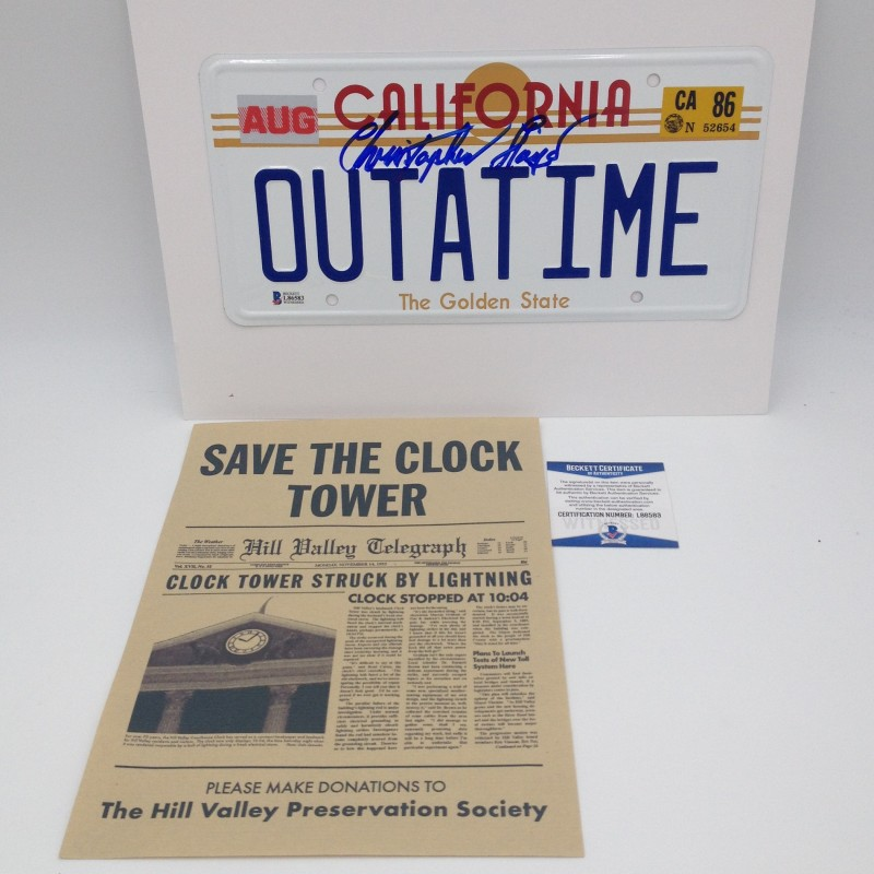 """Back to the Future"" License Plate Signed by Christopher Lloyd + ""Save the clock tower"" Flyer"