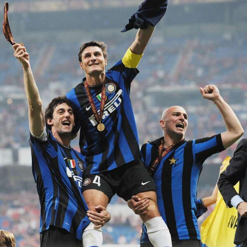Zanetti and Milito Signed Replica Champions League Trophy