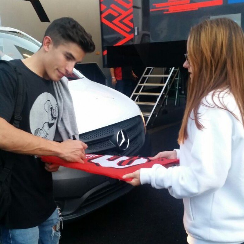 Official Fan Club Flag and a KiSS Misano Cap Signed by Marc Marquez
