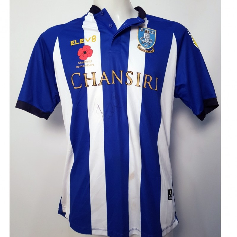 Steven Fletcher's Sheffield Wednesday Worn and Signed Poppy Home Shirt