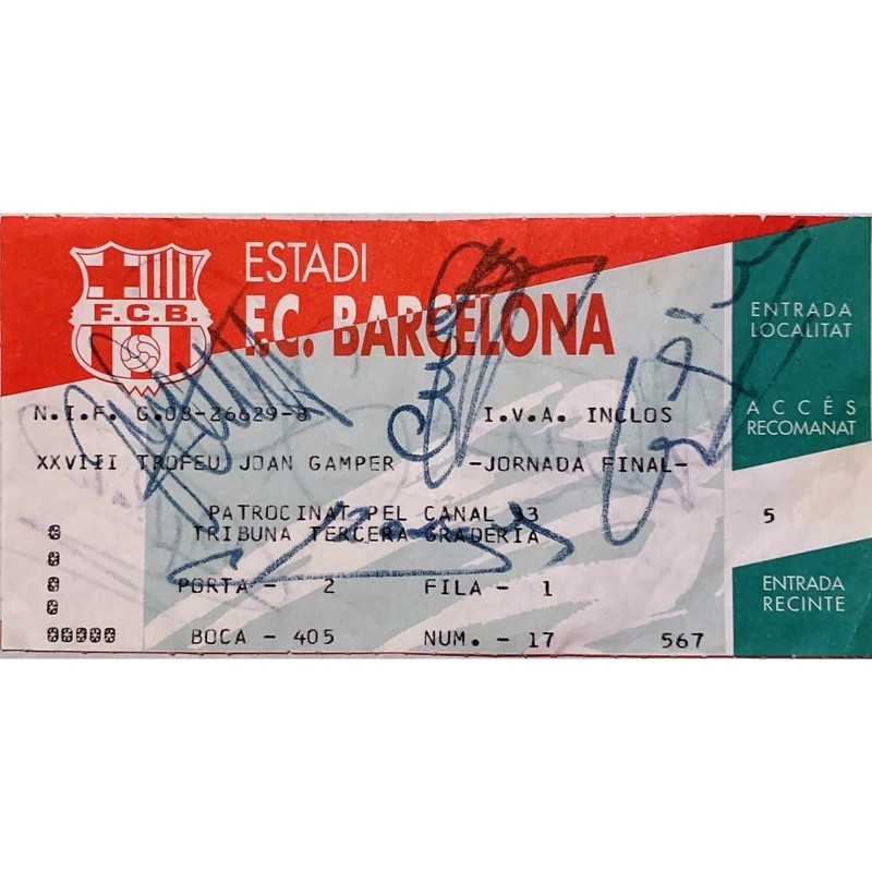 Joan Gamper Trophy 1993 Ticket - Signed by Johan Cruijff