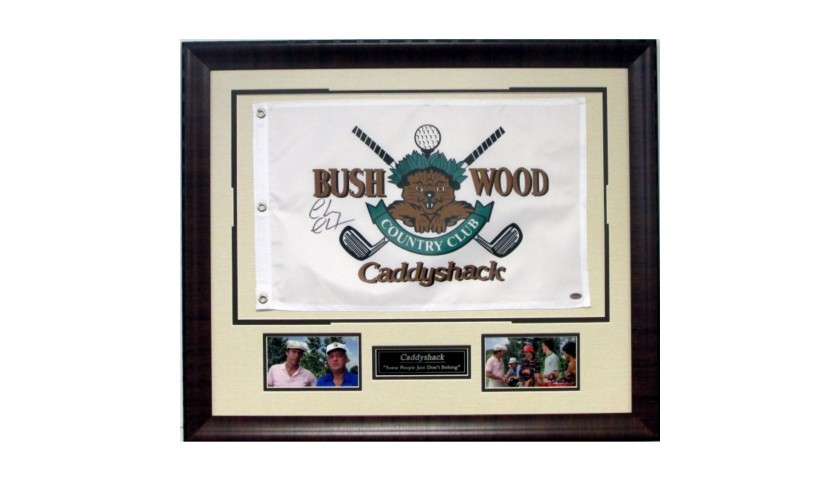 "Caddyshack's  ""Bushwood Country Club"" Pin Flag Autographed by Chevy Chase"