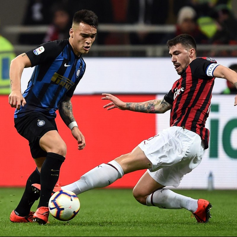 Romagnoli's Worn and Signed Shirt, Milan-Inter 2019
