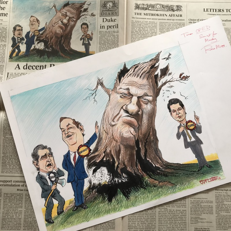 'Bill Clinton Uprooted' - Original 1999 Artwork Published in The Times