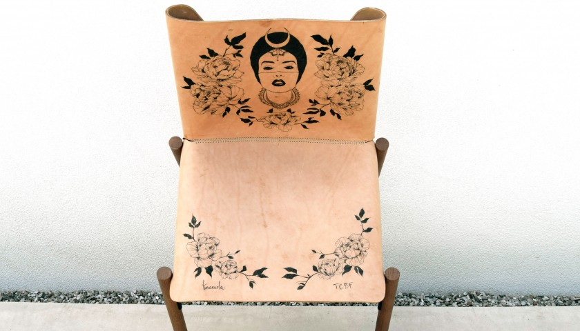Kristalia Armchair Decorated by the Tattoo Artist Emanuela Bello