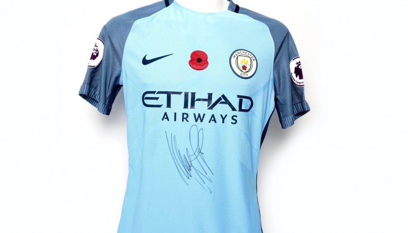 free shipping 11132 ac3f9 Gundogan Worn and Signed Manchester City Poppy Shirt - CharityStars