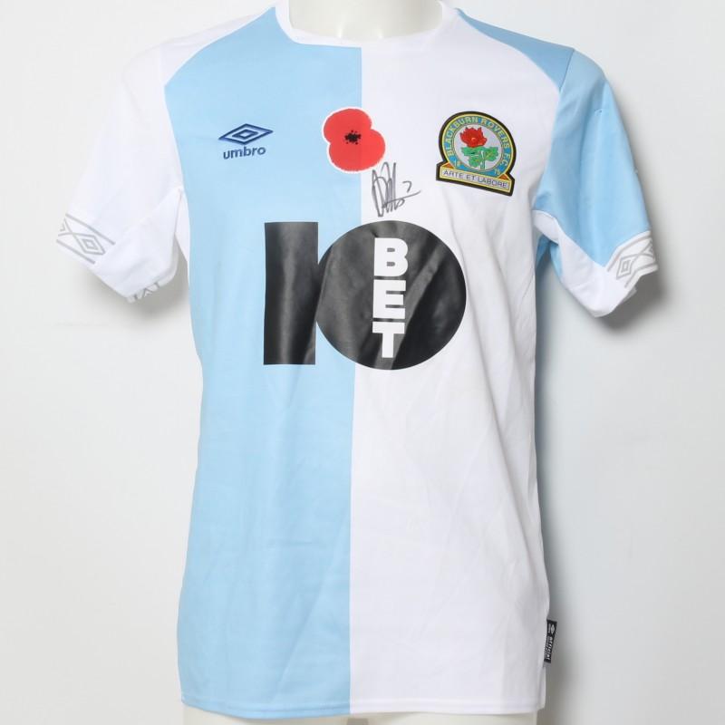 Adam Armstrong's Match-Worn Blackburn Rovers Signed Poppy Home Shirt