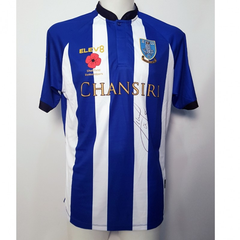 Lucas João's Sheffield Wednesday Worn and Signed Poppy Home Shirt