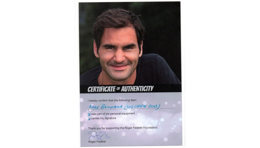 Roger Federer's Worn and Signed Bandana - US Open 2013