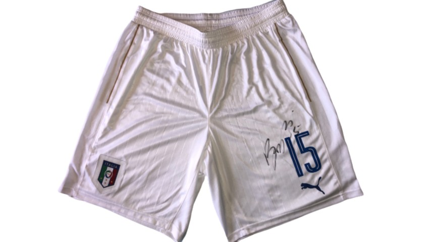 Barzagli's Match Signed Shorts, Italy-Spain 2016