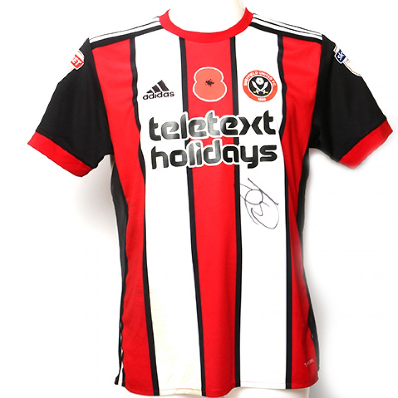 Signed match-worn Poppy shirt from Sheffield United's Jack O'Connell