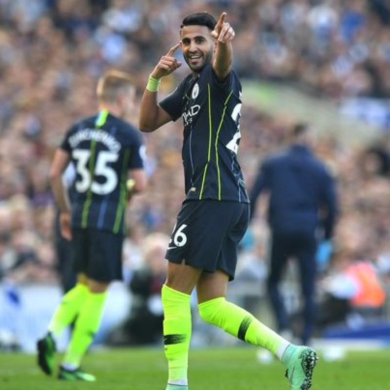 Mahrez' Manchester City  Match Navy/Volt Shorts, Premier League 2018/19