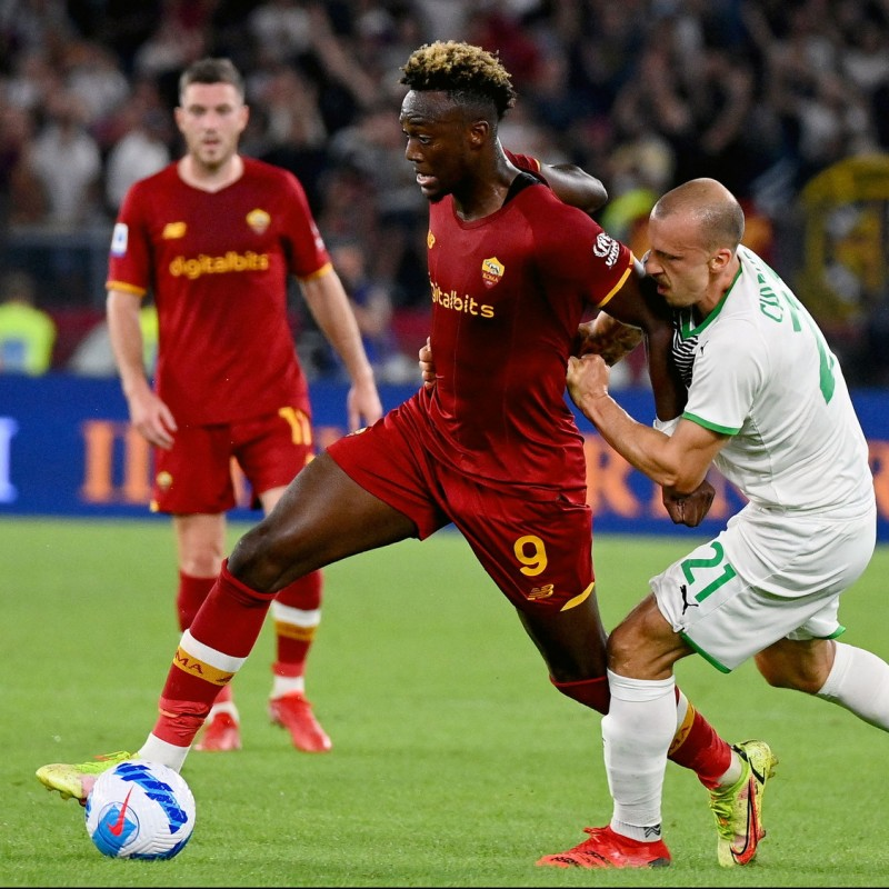 Abraham's Worn Shirt, Roma-Sassuolo 2021/22 Special UNHCR - Signed with Dedication