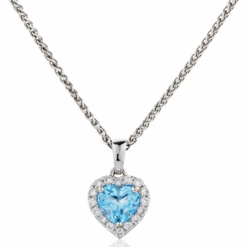 Blue Topaz & Diamond Heart Shaped Pendant