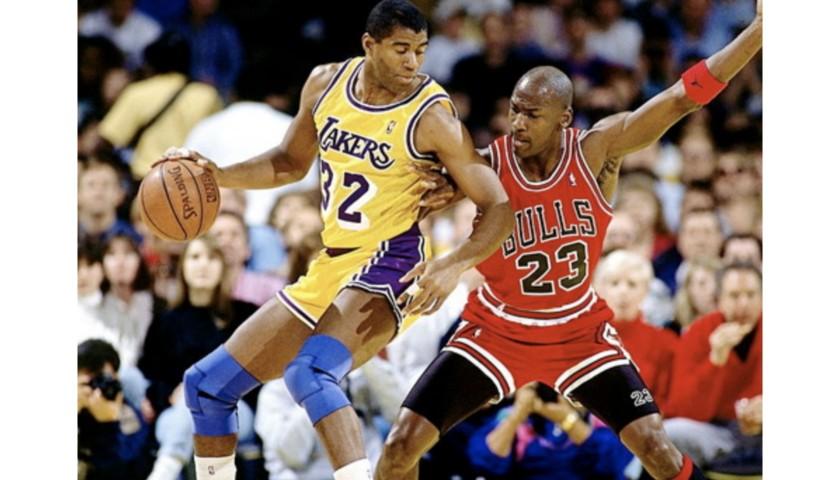 Magic Johnson vs Michael Jordan Autographed Photo