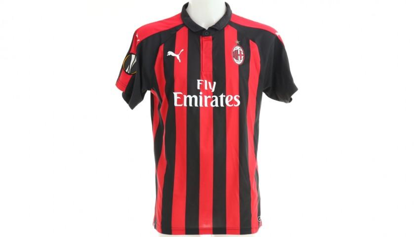 Romagnoli's Milan Match Shirt, EL 2018/19 + Bib