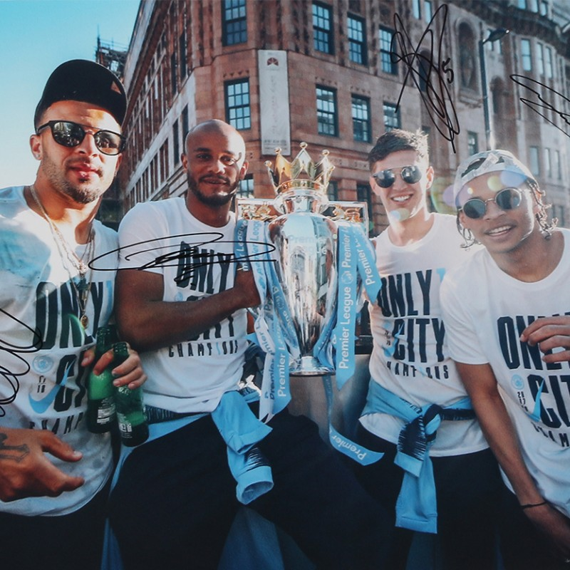 Champions Parade Picture Signed by Kompany, Sane, Stones, Walker