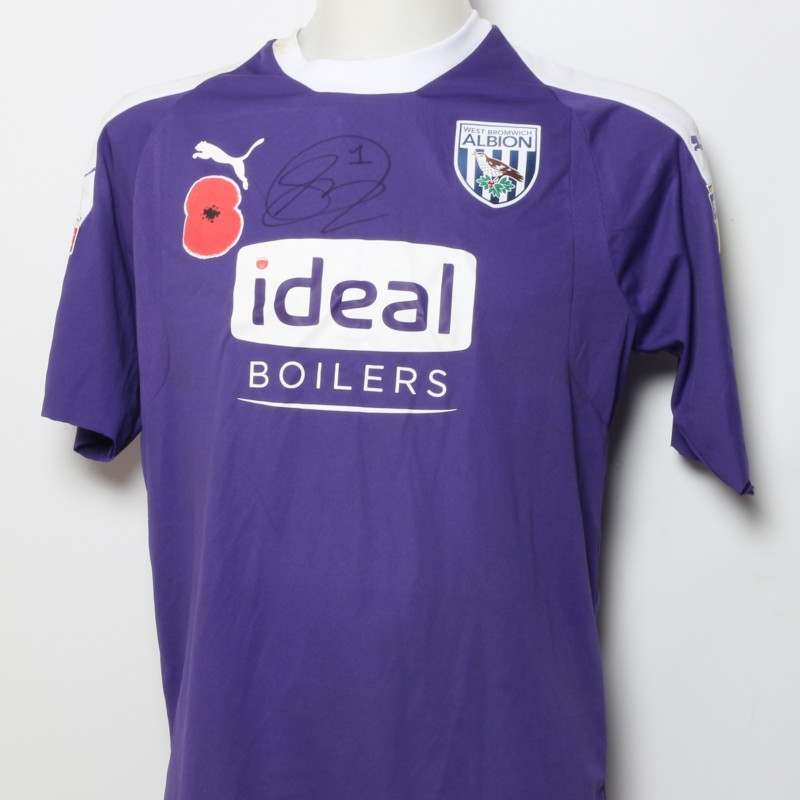 Sam Johnstone's West Bromwich Albion  Worn and Signed Home Poppy Shirt