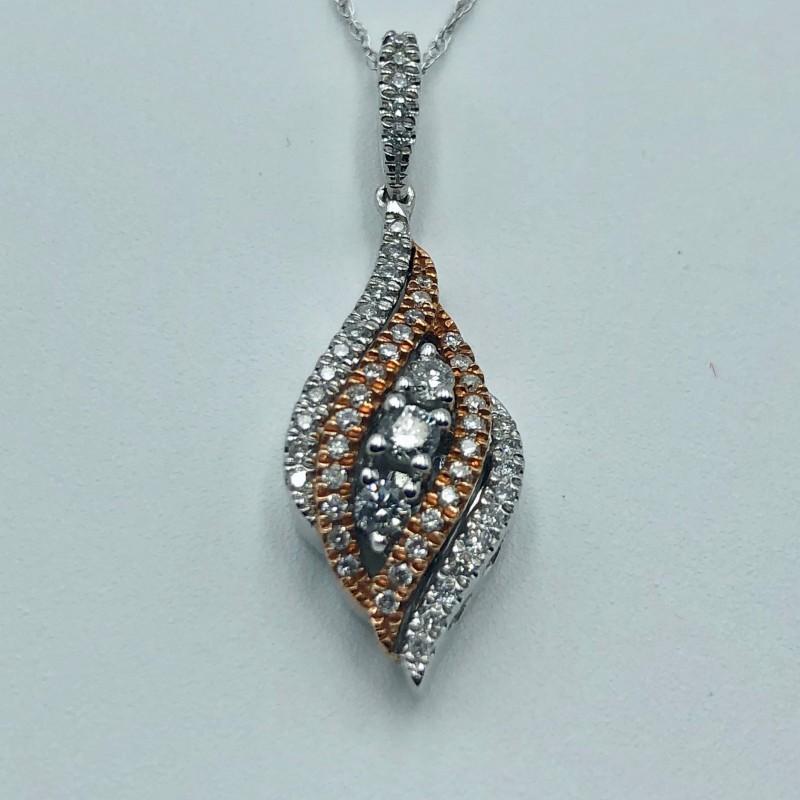 14KT Two-Tone Diamond Pendant