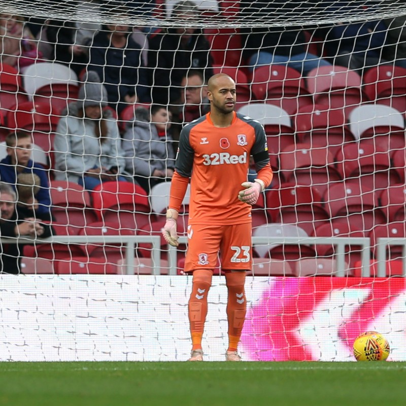 Darren Randolph's Middlesbrough Worn and Signed Home Poppy Shirt