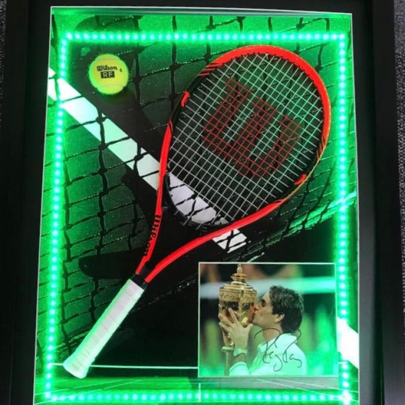 Signed Photo & Racket Display of Tennis Legend, Roger Federer