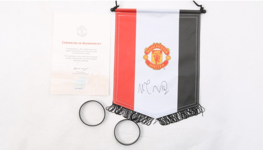 Official Manchester United Pennant - Signed by Carrick